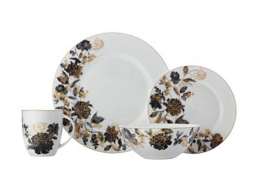 Cashmere Mystic Rose 16 Piece Rim Dinner Set